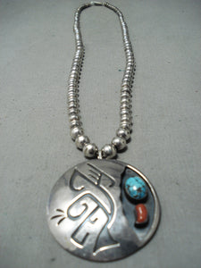 Outstanding Vintage Native American Navajo Turquoise Coral Sterling Silver Necklace Pin