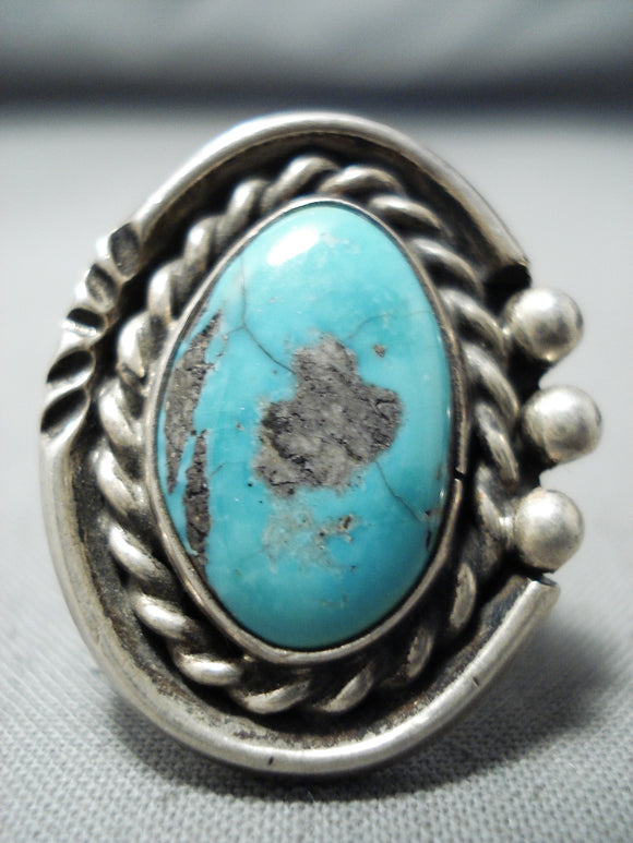 Terrific Vintage Native American Navajo Old Kingman Turquoise Sterling Silver Ring Old