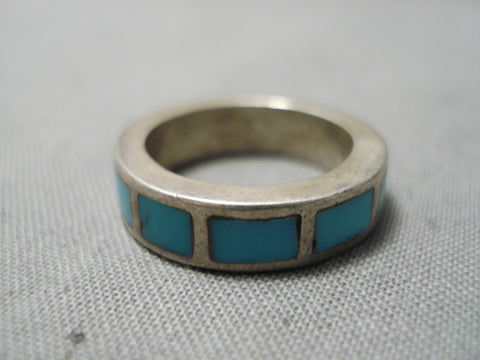 Thicker Vintage Navajo Turquoise Inlay Sterling Silver Native American Ring