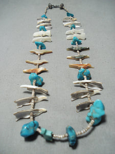 Interesting Vintage Native American Zuni Turquoise Fetish Sterling Silver Necklace Old