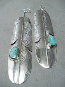 Eye-catching Native American Navajo Blue Diamond Turquoise Sterling Silver Feather Earrings