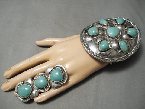 One Of Biggest Best Vintage Native American Navajo Royston Turquoise Sterling Silver Bracelet