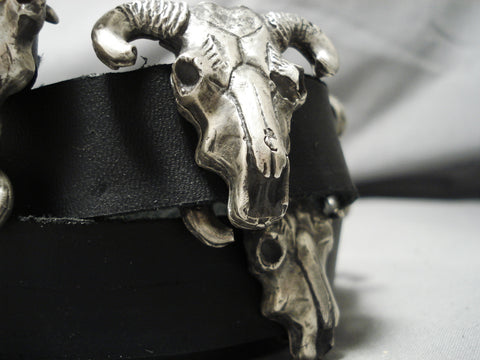 Heavy!! Cow Skull Sterling Silver Incredibly Detailed Concho Belt