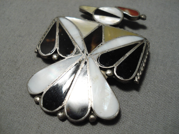 Old Early Vintage Zuni Native American Coral Sterling Silver Pin
