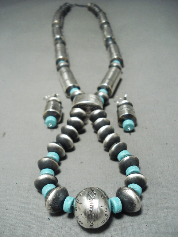 Long Tubule Rare Native American Navajo Turquoise Signed Sterling Silver Necklace
