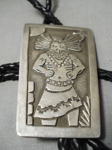 Authentic And Rare Vintage Native American Navajo Floyd Becenti Sterling Silver Bolo Tie Old