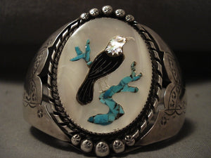 Bald Eagle Huge Vintage Navajo Turquoise Native American Jewelry Silver Bracelet-Nativo Arts