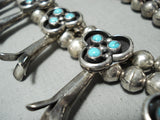 Women's Turquoise Vintage Native American Navajo Sterling Silver Squash Blossom Necklace