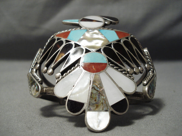 One Best Vintage Native American Zuni Bobby Shack Turquoise Coral Sterling Silver Bracelet Old