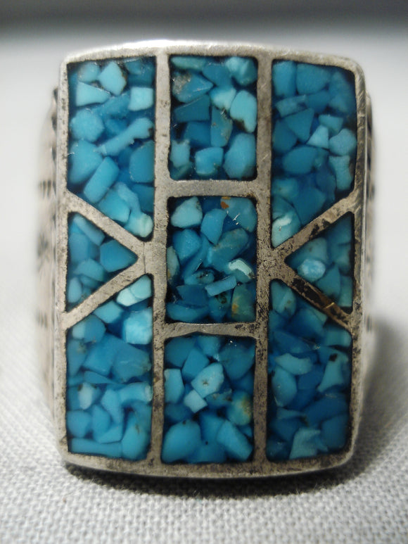 Exquisite Vintage Native American Navajo Turquoise Chip Inlay Sterling Silver Ring Old