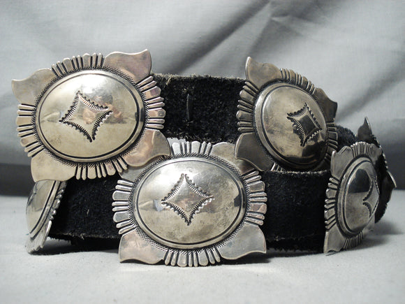 Authentic Rare Vintage Native American Navajo Thomas Singer Sterling Silver Concho Belt