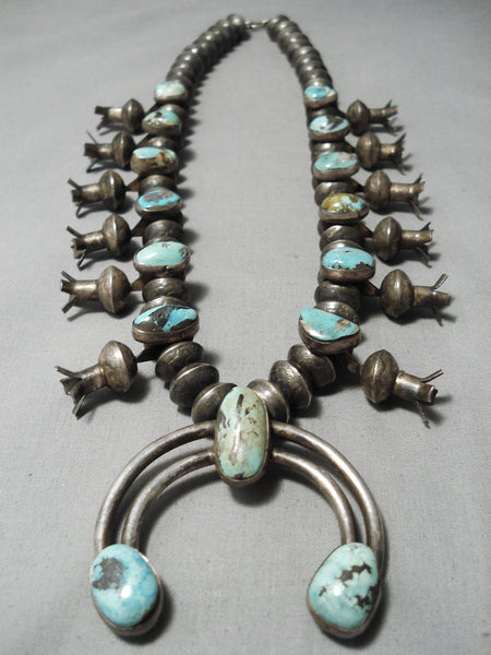Early 1920's/30's Vintage Native American Navajo Coin Silver Turquoise Squash Blossom Necklace