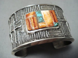 Fabulous Native American Navajo Turquoise Spiny Inlay Sterling Silver Huge Bracelet