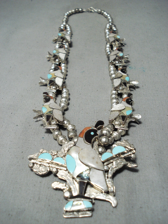 Native American Women's Vintage Navajo Inlay Turquoise Sterling Silver Squash Blossom Necklace