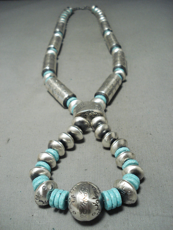 Huge Signed Native American Navajo Turquoise Tubule Sterling Silver Necklace