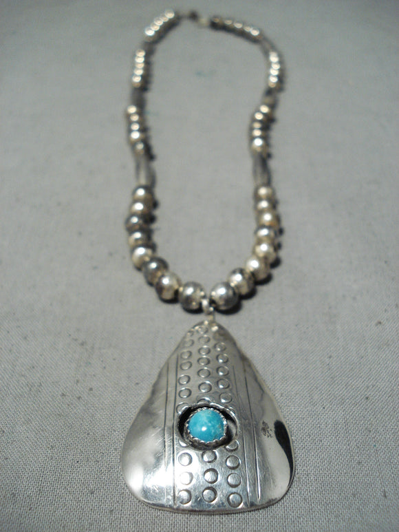 Amazing Vintage Native American Navajo Turquoise Sterling Silver Necklace Old
