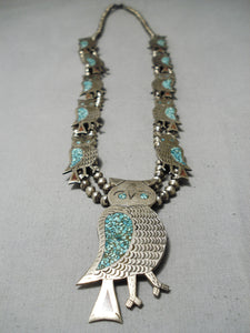 Rare Vintage Native American Navajo Turquoise Sterling Silver Owl Squash Blossom Necklace Old