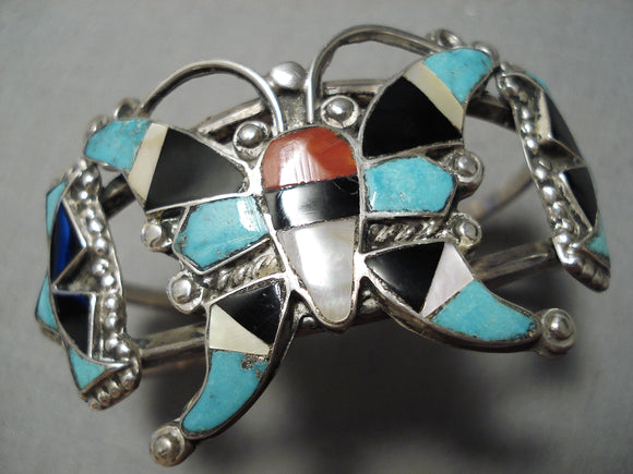 Marvelous Vintage Native American Zuni Native Turquoise Sterling Silver Butterfly Bracelet