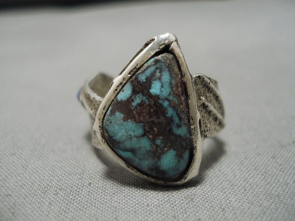 Extremely Rare Vintage Native American Navajo Red Mountain Turquoise Sterling Silver Ring Old