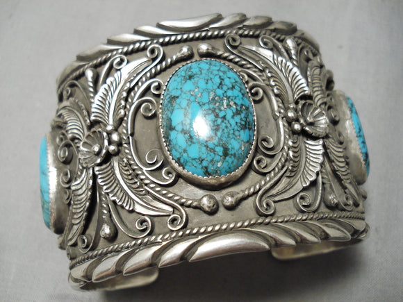 One Of Best Vintage Native American Navajo Turquoise Garden Of Leaves Sterling Silver Bracelet