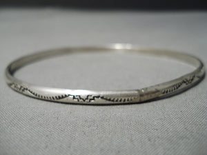 Incredible Vintage Native American Navajo Hand Tooled Sterling Silver American Bangle Bracelet