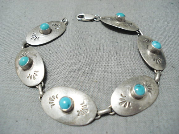 Nez Vintage Native American Navajo Sleeping Beauty Turquoise Sterling Silver Bracelet
