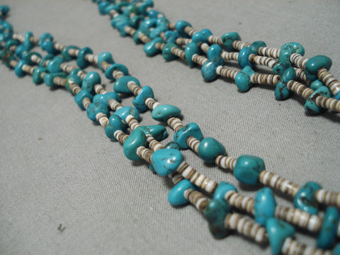 Incredible Vintage Native American Navajo Blue Gem Turquoise Sterling Silver Native Necklace