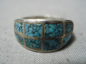 Wonderful Vintage Native American Navajo Spiderweb Turquoise Sterling Silver Ring Old