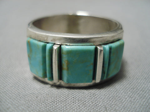 Quality Vintage Native American Navajo Victor Thompson Royston Turquoise Sterling Silver Ring