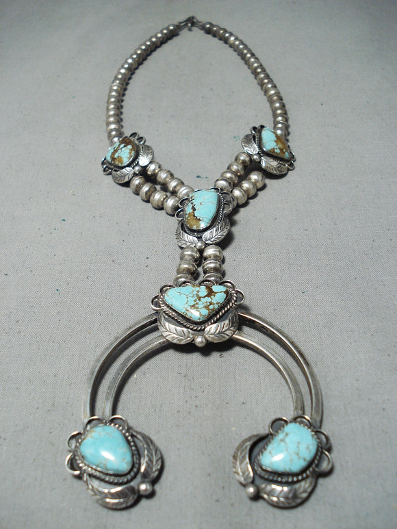 Incredible Vintage Native American Navajo #8 Turquoise Sterling Silver Naja Necklace