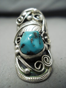 Spectacular Vintage Native American Navajo Kingman Turquoise Sterling Silver Large Ring