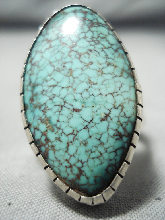 One Of The Best Vintage Native American Navajo #8 Turquoise Sterling Silver Ring