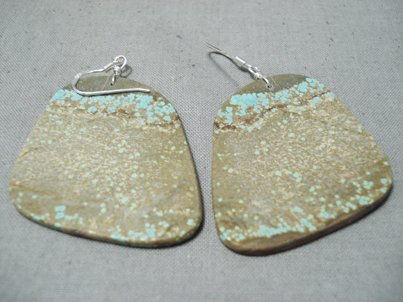 Native American Impressive Santo Domingo Royston Turquoise Sterling Silver Earrings