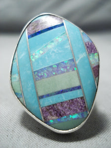 Intense Inlay San Felipe Inlay Turquoise Synth Opal Sterling Silver Ring