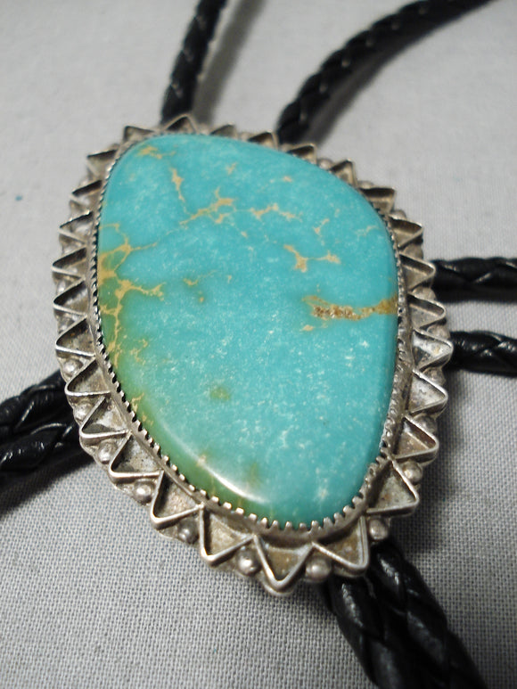 Superior Vintage Native American Navajo Royston Turquoise Sterling Silver Bolo Tie Old