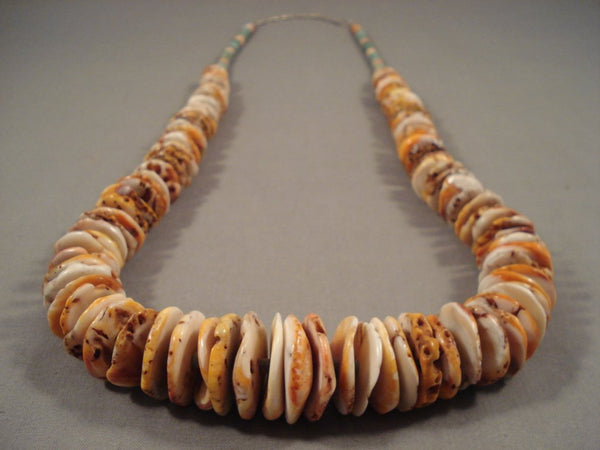 Beautiful Santo Domingo Huge Shell Turquoise Heishi Native American Jewelry Silver Necklace