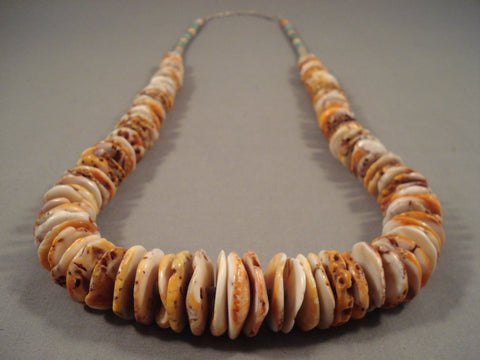 Beautiful Santo Domingo Huge Shell Turquoise Heishi Native American Jewelry Silver Necklace-Nativo Arts