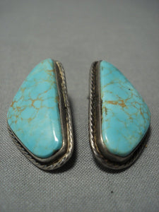Beautiful Vintage Navajo #8 Turquoise Sterling Native American Jewelry Silver Earrings-Nativo Arts