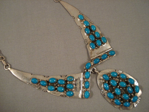 Beautiful Vintage Navajo 'Domes Of Turquoise' Native American Jewelry Silver Necklace Old-Nativo Arts
