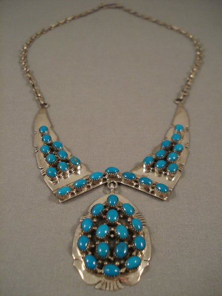 Beautiful Vintage Navajo 'Domes Of Turquoise' Native American Jewelry Silver Necklace Old