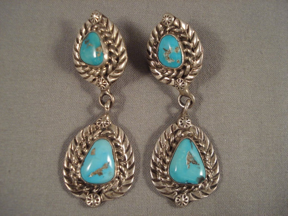 Beautiful Vintage Navajo Persin Turquoise Dnagling Native American Jewelry Silver Earrings-Nativo Arts