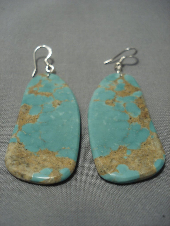 Beautiful Vintage Santom Domingo Royston Turquoise Sterling Native American Jewelry Silver Earrings-Nativo Arts