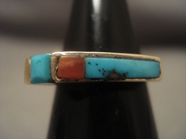 Beautiful Vintage Zuni/ Navajo Native American Jewelry jewelry 14k Gold Turquoise Ring
