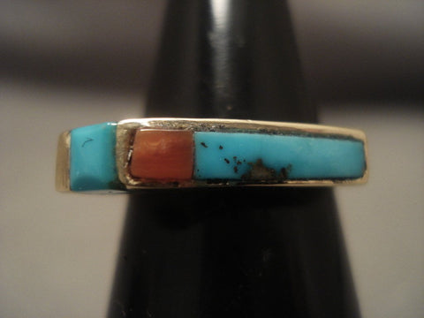 Beautiful Vintage Zuni/ Navajo Native American Jewelry jewelry 14k Gold Turquoise Ring-Nativo Arts