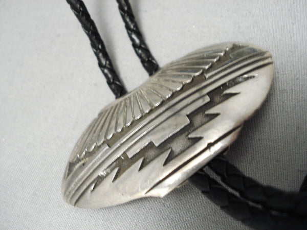 Magnificent Vintage Native American Navajo Sterling Silver Pot Bolo Tie Old