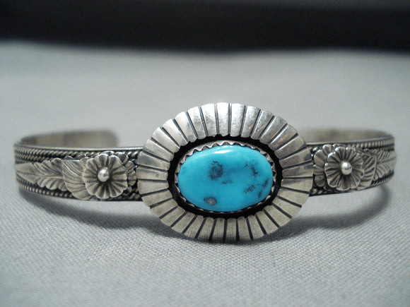 Signed Vintage Native American Navajo Sleeping Beauty Turquoise Sterling Silver Bracelet