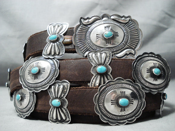 Most Detailed Vintage Native American Navajo Link Firendly Turquoise Sterling Silver Concho Belt