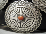 Huge Important Native American Navajo Rick Martinez Coral Sterling Silver Concho Belt