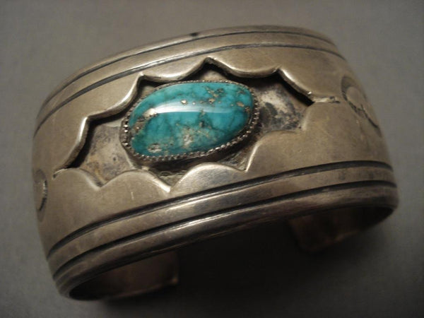 Big And Old Vintage Navajo Starred Shadowbox Native American Jewelry Silver Bracelet