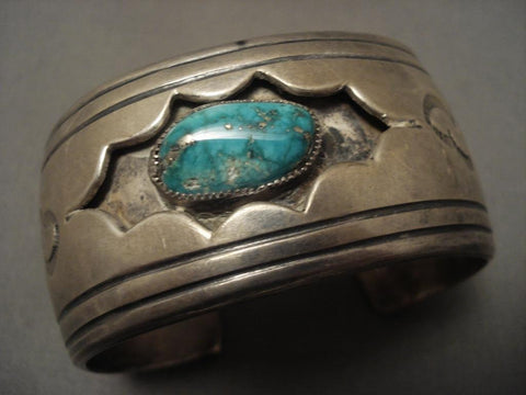 Big And Old Vintage Navajo Starred Shadowbox Native American Jewelry Silver Bracelet-Nativo Arts